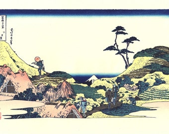 "Japanese Ukiyo-e Woodblock print, Katsushika Hokusai, ""Below Meguro, from the series Thirty-six Views of Mount Fuji"""