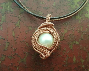 Pearl wire wrapped double sided copper pendant