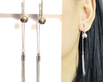 Double Sided Tassel Clip-On Earrings |20A| Modern Ball Drop Silver Chain Dangle Long Clip on Earrings Fringe Clip-ons Non Pierced Earrings