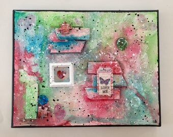 Mixed Media Canvas,Mixed Media Art, wall art, gift for her, home decor, painting, handmade, one of a kind, art, mixed media collage, Love Me