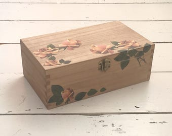 Floral Jewelry Box, Wooden Box, Jewellery Box, Bathroom Storage, Storage Box, Craft Storage, Decorated Box, Gift for Her, Mothers Day Gift