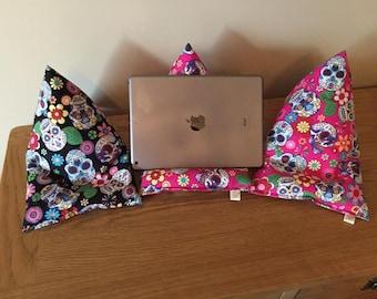 Ipad/Tablet beanie cushion in 'sugar skull' fabric