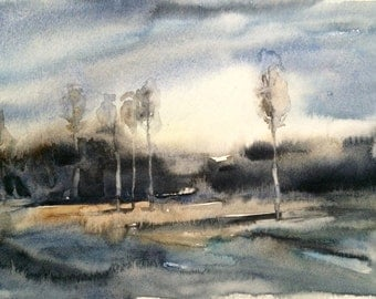 Watercolor landscape, watercolor trees, birch trees, tree painting, landscape painting, birches, tree watercolor, trees, original watercolor