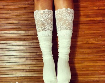 Women's Over the Knee Socks. Tall Socks. White Lace Socks. Vintage like Socks . Knitted Lace Socks. White Lace Socks. Boho Socks.