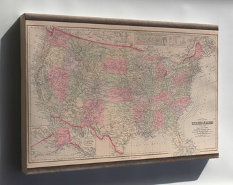 Canvas 24x36; Map Of The United States Of America 1890