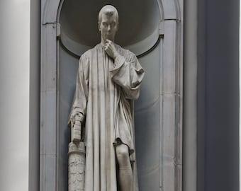 Canvas 24x36; Statue Of Niccolo Macchiavelli, By Lorenzo Bartolini, Florence, Italy