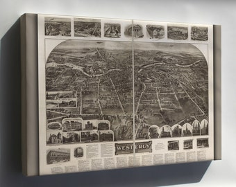 Canvas 24x36; Aero View Map Of Westerly, Rhode Island 1911