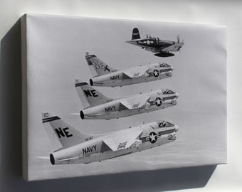 Canvas 24x36; Vought F4U-7 Corsair Leading Ltv A-7A Corsair Ii Fighters 1967