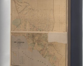 Canvas 24x36; Map Of The County Of Los Angeles, California 1877
