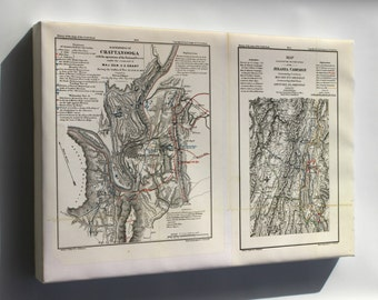 Canvas 16x24; Battle Field Map Chattanooga Tennessee