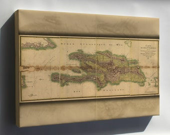 Canvas 16x24; Map Of Hispaniola 1805