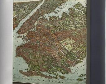 Canvas 16x24; Birdseye View Map Of Brooklyn New York City 1908