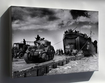 Canvas 16x24; Us Navy Lst Landing M4 Sherman Tank Normandy France