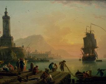 16x24 Poster; Claude-Joseph Vernet - A Calm At A Mediterranean Port