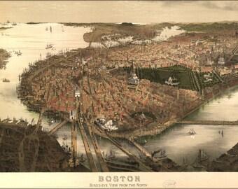 16x24 Poster; Birdseye View Map Of Boston 1877