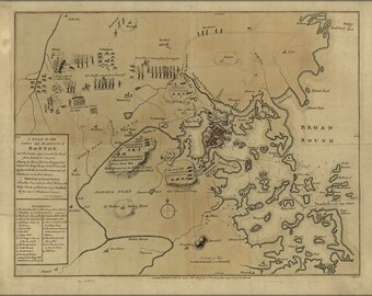 16x24 Poster; Map Of 1775 Battle Of Lexington, Concord & Siege Of Boston