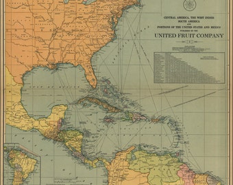 16x24 Poster; Map Of Central & South America West Indies 1909