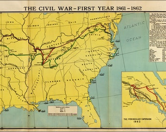 16x24 Poster; Map Of Civil War First Year