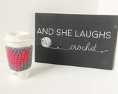 Crocheted Cup Cozy - Cross-Stitched Heart - Pink and Grey