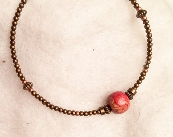 delicate copper bangle with wood bead