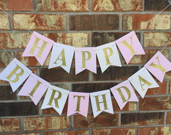 Pink birthday banner, Happy Birthday Banner, Personalized birthday banner, First Birthday banner, Pink Ombre Banner, custom banner