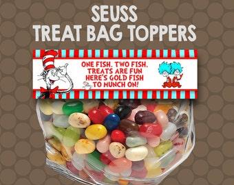 Dr Seuss Treat Bag Toppers Labels Wrappers Printable Uprint Digital DIY Instant Download