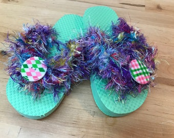 Green girls flip flops frilly fancy size 11-12