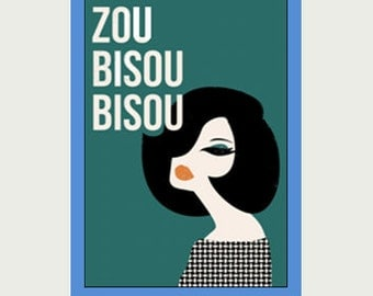 1960 Theme Decal - Zou Bisou Bisou Decal - New York City Decal - Vintage Style Decal - Car Sticker - Laptop Sticker - Window Sticker - S13