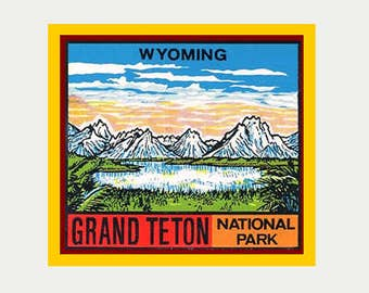 Grand Teton National Park Sticker - Car Decal - Travel decal - Vintage Style Decal - RV Sticker - Vacation Sticker - Wyoming Souvenir - S120