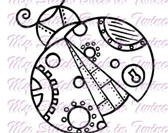 Digital stamp colouring image - Steampunk ladybug. jpeg / png