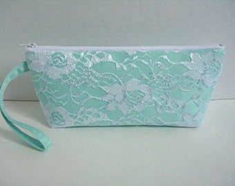 Mint Green Satin And White Lace Clutch - Bridesmaid Wristlet Clutch - Wedding Clutch - Mint Green Clutch - White Lace Clutch - Bridal Clutch