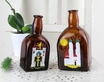 2 pieces Anton Riemerschmid Munich amber glass liquor bottle Cherry Brandy glass bottle Handmade