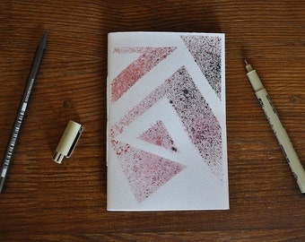 Notebook - Graphic stencil/Watercolor - 26 sheets - Bound by hand