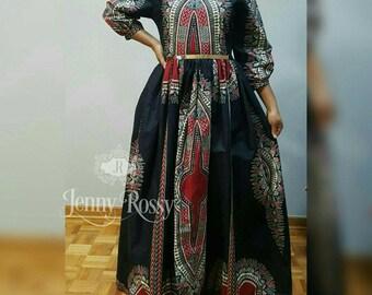 Black Dashiki Maxi Dress African clothing Dashiki Angelina Maxi dress