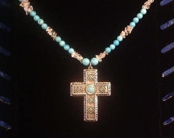 Pewter cross, turquoise, quarts necklace