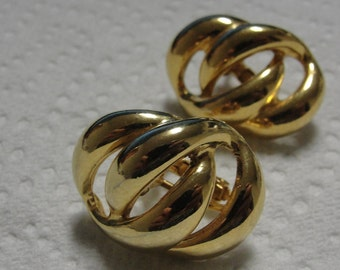 Napier Gold Tone Link Screw Earrings