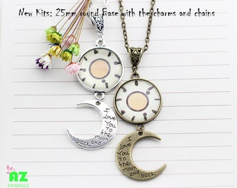 10 Pendant Necklaces Chains Kits 25mm cabochon setting With Moon Charms -DIY Craft KITS, Glass Cabochon Included