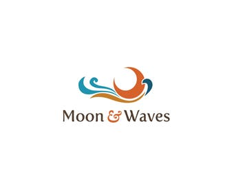 Moon and Waves Logo, Whimsical Logo,  Logo Watermark, Logo Design, Boutique Logo, Premade Logo, Watermark Logo, Business Logo, Branding Logo