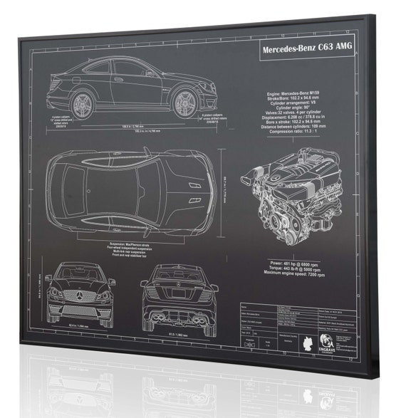 Mercedes benz c63 amg laser engraved wall art poster engraved for Mercedes benz wall posters
