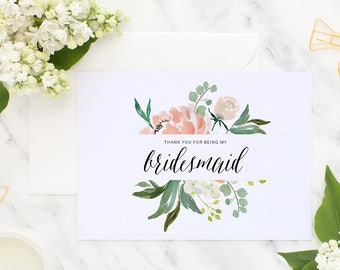Thank you bridesmaid, Bridesmaid thank you, Wedding thank you, Bridesmaid gift, Thank you for being, Wedding Notecard, Maid of honor