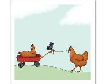 Chickens Playing Together Greeting Card