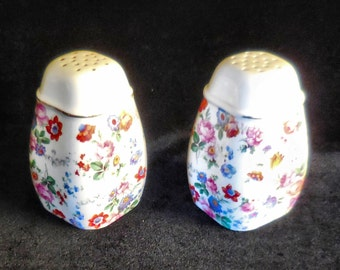 German Large Pottery Salt and Pepper Shakers with Chintz decoration circa 1900