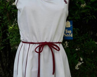 Vintage 1970s Top Seed Brand Tennis Dress New Old Stock w Tags Size 12