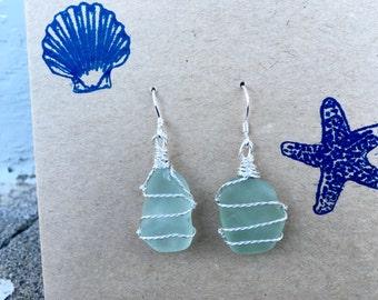Pretty Little Aqua Mermaid Tears Sea Glass Earrings