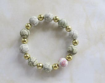 Grey Polymer Clay beaded elasticated  bracelet-golden spacer beads- Gift for her-Can be worn with others in set.Elasticated - BCS 13