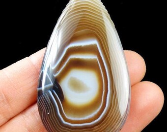 Beautiful Striped Agate pendant pear shape brown color. 60x34x6mm ММА