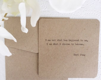 Hand Typed Mindfulness Note/ Carl Jung quote typewriter Card/ I am what i choose to become/ Motivation, inspiration, psychology, mindfulness