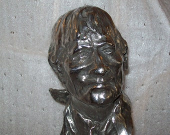 Fritz White THE DROVER Silvered Bronze Bust