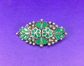 Vintage Silver Brooch, Green Enamel Brooch, Circa 1930, Vintage Gift