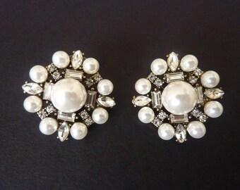 Pearl Earrings Bridal Earrings Wedding Earrings Art Deco Earrings Great Gatsby Earrings Art Nouveau Vintage Earrings Downton Downtown Abbey